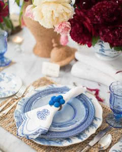 A Blue and White Table with Juliska