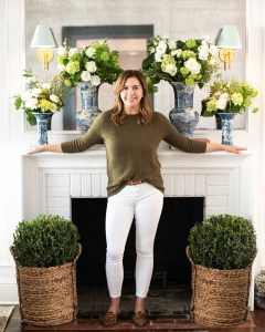 Above the Mantel with The Potted Boxwood