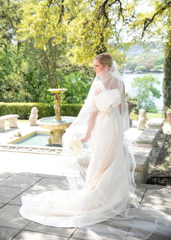 Outdoor Fountain Bridal Portrait