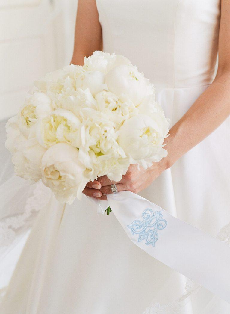 White Peony Bridal Portrait