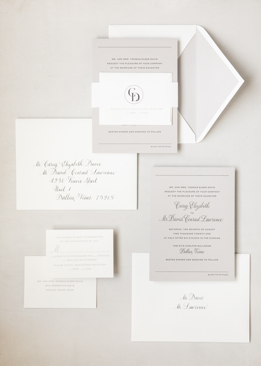 white and grey invitation suite