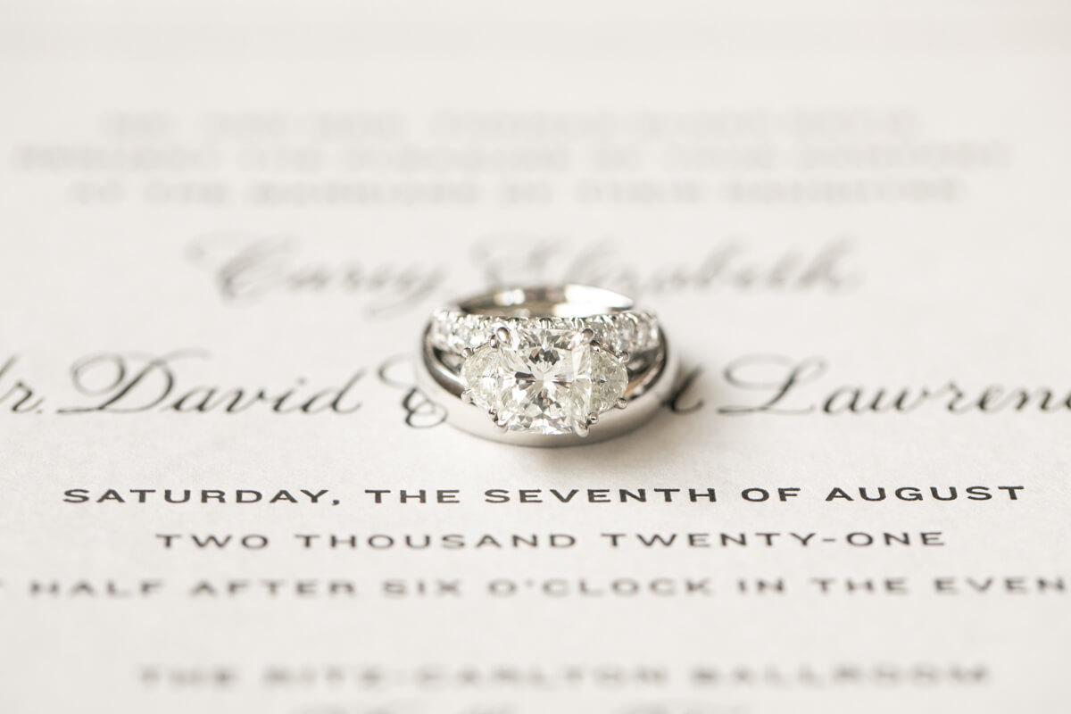 wedding rings on an invitation