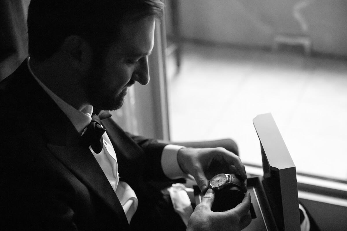 david opening a watch box