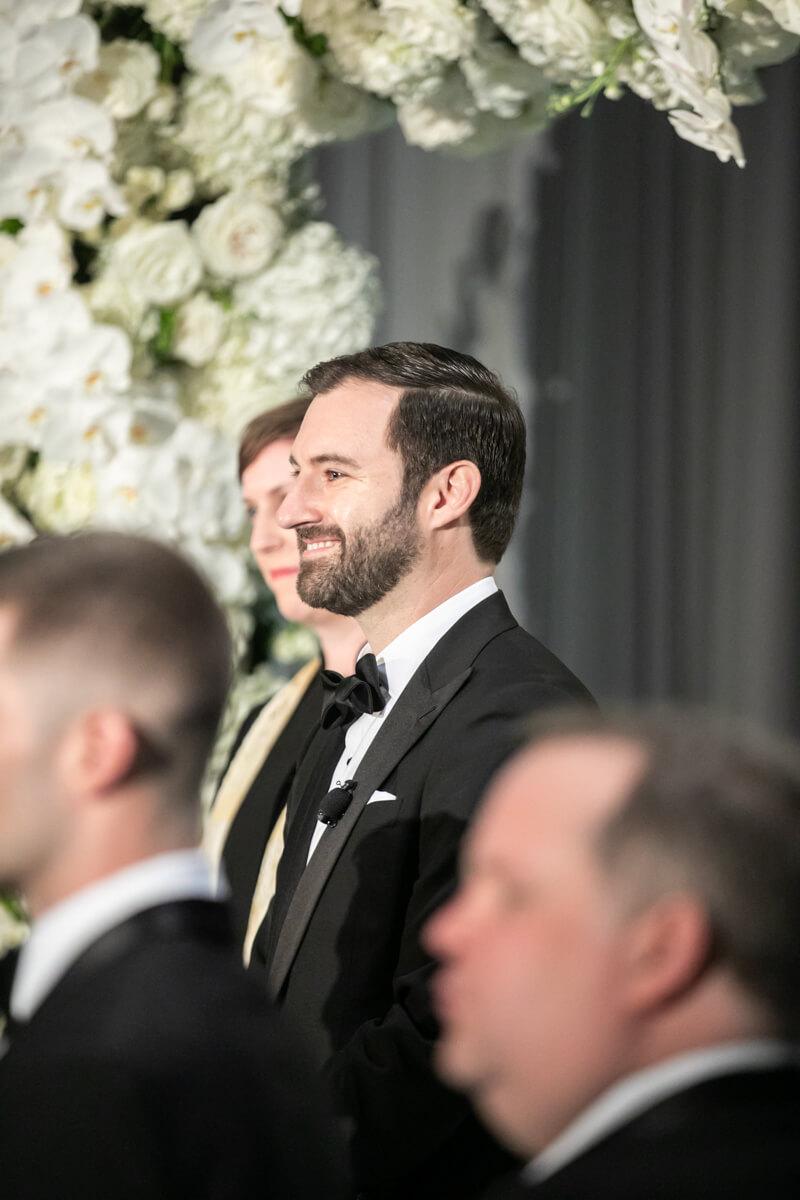 david seeing his bride walk down the aisle