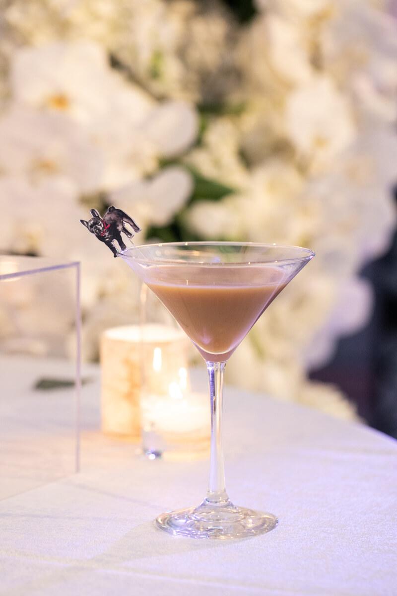 espresso martini with french bulldog stir stick