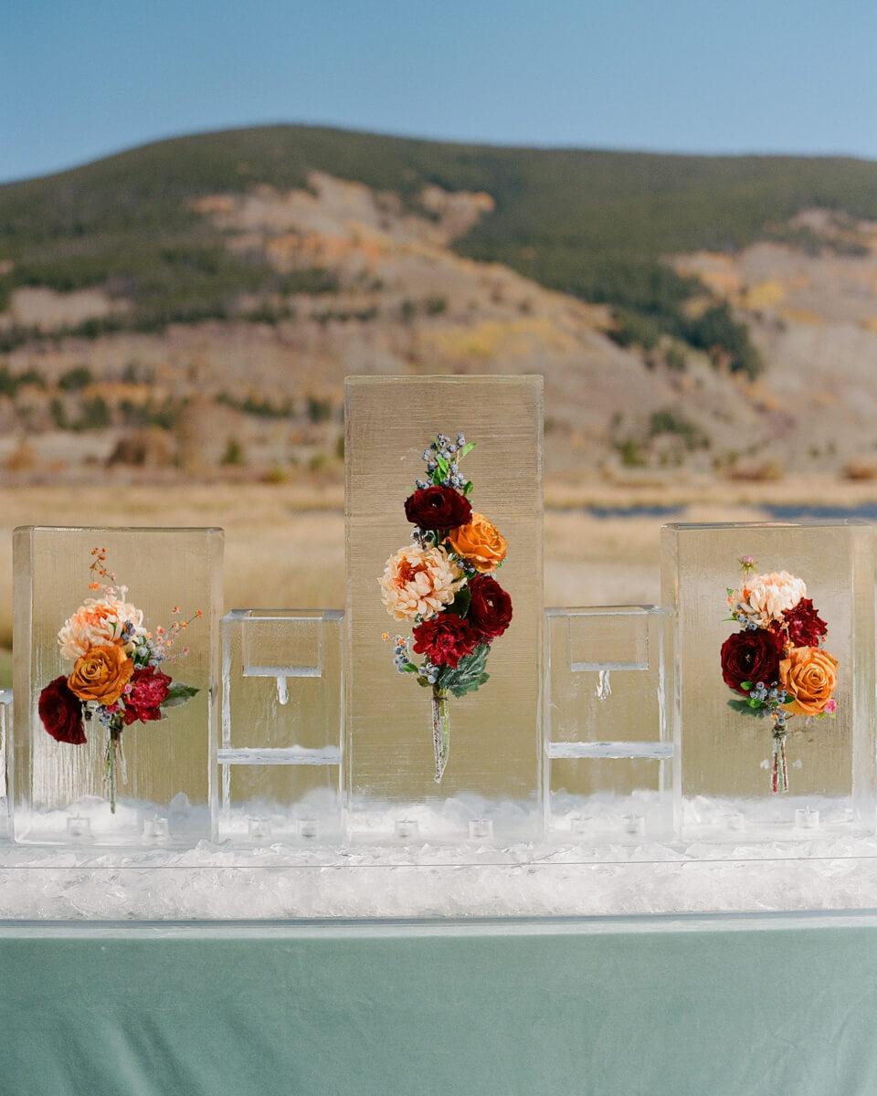 floral ice sculptures