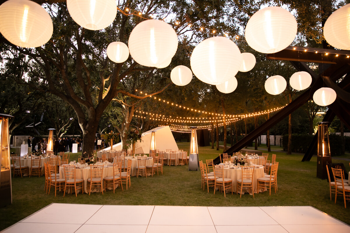 reception space with lights and lanterns