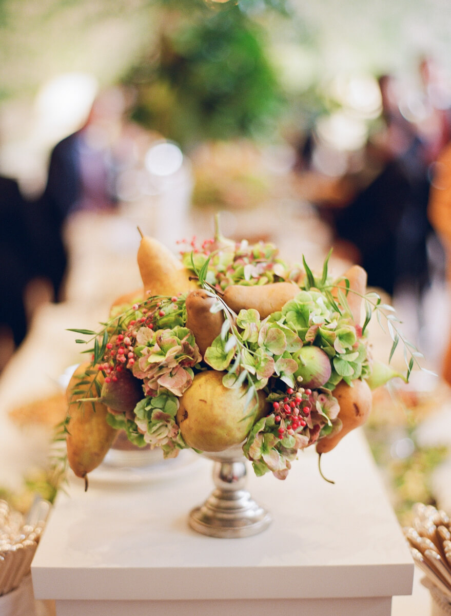 floral arrangement with pears